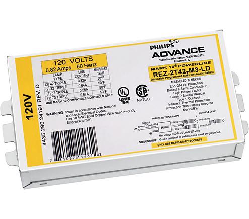 ADVANCE REZ-2Q18-M2-BS 18W 120V 2L CFL 4-PIN FLUORESCENT ELECT  DIMMING BALLAST